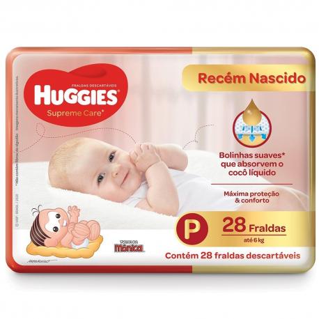 "Fralda Huggies Superme Care Jumbo Tam ""p"" Com 28Un"